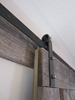 "Picture of 78.75"" Track Bent Strap Matte Black Barn Door Hardware Kit For Door Widths Up to 40"""