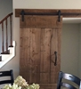 "Picture of Two 40"" x 84"" Canadian Classic Pine Barn Doors, 6"" x 118"" Pine Header Board  & 118"" Bypass Hardware, Two Flush Handles, Stained Grey"
