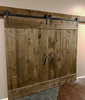 """Picture of Two 40"""" x 84"""" Canadian Classic Pine Barn Doors, 6"""" x 118"""" Pine Header Board  & 118"""" Bypass Hardware, Two Flush Handles, Stained Grey"""