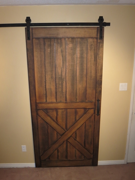 Merveilleux Picture Of Stock Half X Rough Sawn Pine Barn Door