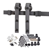 "Picture of 118"" Track Matte Black Bent Strap Barn Door Hardware Kit For Door Widths Up To 60"""