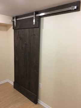 "Picture of 118"" Track Stainless Steel (2 x 60"" tracks + track joiner link) Bent Strap Wheel Barn Door Hardware Kit For Door Widths up to 60"""