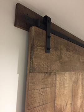 "Picture of 78.75"" Track Bent Strap Matte Black Barn Door Hardware Kit For Door Widths Up to 40"""
