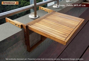 Picture of STOCKHOLM 18 x 24 Adjustable Folding Balcony Table by Interbuild